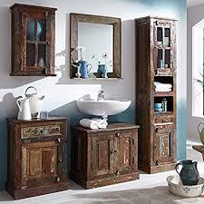 sit moebel badezimmer set mit schränken und spiegel shabby