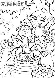 Coloring Pages Dora The Explorer Birthday