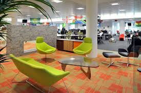 Office Workspace Colorful Creative Ideas Alongside Spacious Room With Lounge Space And Long Table Chair Black