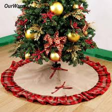 Pastoral Style Christmas Tree Skirts 48inch Burlap Black And Red Plaid Ruffle Edge Decorations For Home High Quality China