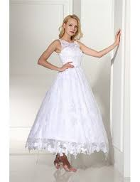 GRACE LOVE Vintage Ankle Length Ballgown Lace Wedding Dress Rustic Sleeveless