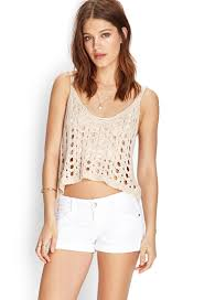forever 21 stretch cuffed denim shorts in white lyst