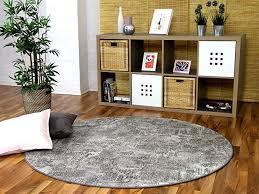 designer soft velours teppich vintage grau rund in 7 größen