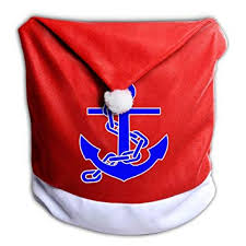 Nautical Anchor Antique Christmas Chair Covers White For Back Living Room Dinner Santa