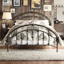 wrought iron bed frame spindle headboard footboard retro antique