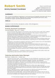 Resident Service Coordinator Resume Sample New Activity Assistant Samples