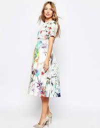 asos wedding crop top midi dress in floral print summer wedding