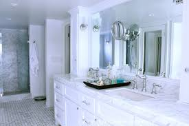 White Marble Countertops with White Cabinets Traditional