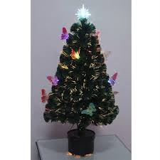 2ft 60cm Christmas Tree Fiber Optic Pre Lit Xmas With Butterfly LED Lights