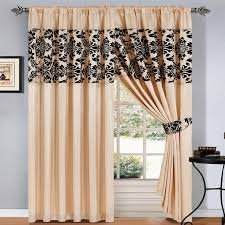 Ebay Curtains 108 Drop by Black And Cream Curtain With Woven Pattern Decofurnish