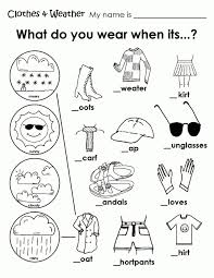 Weather Coloring Pages Free Of Clothing Worksheet Sheets Fresh