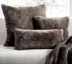 faux fur pillow cover chinchilla pottery barn