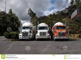 100 Fuel Trucks Three Stopped In Line Stock Image Image Of