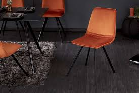 esszimmerstuhl 4er set orange samt retro design dunord design