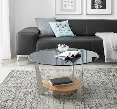 couchtisch rund wohnzimmer bestelltisch glas grau eiche