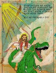 Jesus Riding Dinosaur Coloring Book