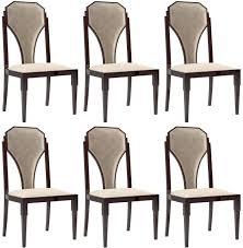 casa padrino luxus deco esszimmer stuhl set beige dunkelbraun silber 55 x 55 x h 110 cm edles küchen stühle 6er set deco esszimmer