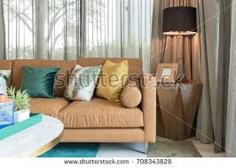 Brown Couch Living Room Design by Modern Living Room Green Pillows On Stock Photo 568879327