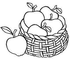 Apple Fruit Coloring Pages In The Basket