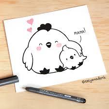 Kawaii Mama And Baby Chicken Illustration By Tatyana Deniz