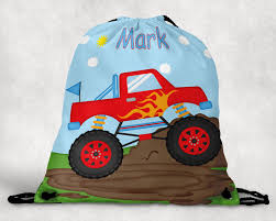 100 Monster Truck Backpack Personalized Drawstring