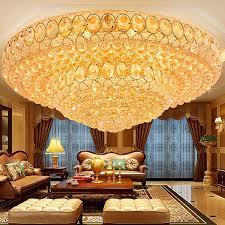 luxus led deckenleuchte kristall rund in golden für