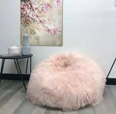 Pink Mongolian Sheepskin Curly Fur Bean Bags Eluxury Home Awesome Furry Bag Chair
