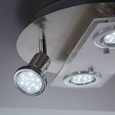 led decken leuchte rund metall glas le wohnzimmer strahler 4 flammig gu10 rund typ a