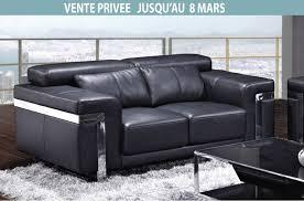 vente privee canapé canapé 2 places en cuir italien astoria noir mobilier privé