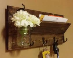 Rustic Mail Holder Home Decor Wood Organizer Key