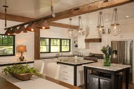 Copper Light Fixtures Kitchen Rustic With Black White And