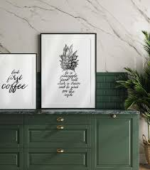 картина для интерьера blckart kchen poster set wine coffee pineapple bilder set esszimmer wandbilder