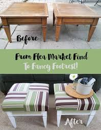 Create Ottomans From Some Flea Market Tables That Look Great