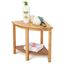Amazoncom OasisSpace Corner Shower Stool Bamboo Shower Bench With