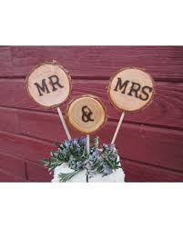 Rustic Mr And Mrs Wedding Cake Topper Wood Log Slice