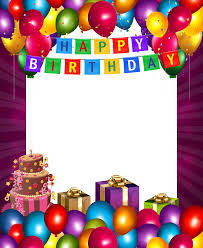 this png image happy birthday with balloons transparent frame border clip art