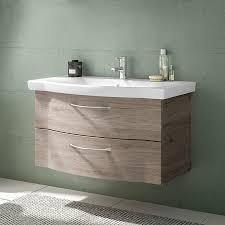 lomadox badezimmer waschtisch set inkl keramikbecken solingen 66 in sanremo eiche terra b h t 97 55 51 5cm