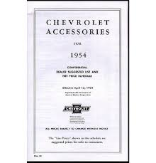 100 Chevy Truck Parts And Accessories 1954 Accessory List Price Schedule EBay