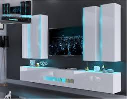 details zu moderne wohnwand schrankwand hochglanz wohnzimmer next an52 inkl led