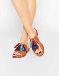 image 1 of aldo grazioli camel tassel flat slider sandals shoes