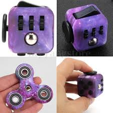 Purple Galaxy Hand Fidget Spinner Cube Anxiety Stress Relief Focus Adults Set
