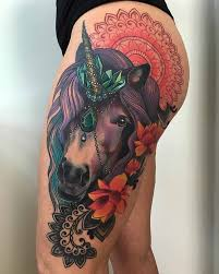 Very Detailed Unicorn Tattoo On The Thighs Striking Colors That Design Has Is