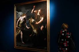 A Visitor Stands By Painting Of Balaam And The Ass Italian Painter Luca Giordano As Part Exhibition From Caravaggio To Bernini Dedicated