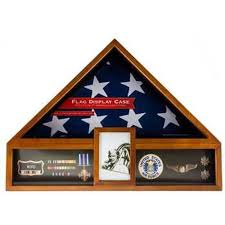 American Flag Display Case Oak Military Veteran Box Funeral Burial Metal