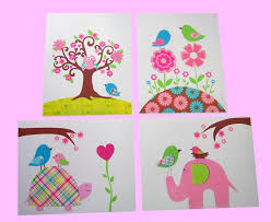 Paper Cuts Handmade Kid Wall Art Fabric Cloth Removable Four Separated Panels Sets Cutes Accents Lively Ornament