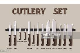 Kitchen Knives Names Set Flat Icons Of Kitchen Knives With Signature Names High