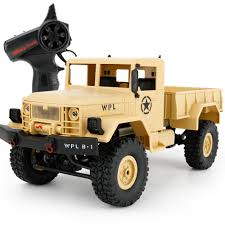 WPL-B1 1/16 Scale 2.4Ghz Military Trucks Model Vehicle Toys RC Car ...
