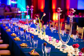 Indian Wedding Reception Decor Blue Table Settings In Chicago Illinois By Joseph Kang