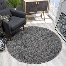 sanat teppich rund grau hochflor langflor modern teppiche fürs wohnzimmer schlafzimmer esszimmer oder kinderzimmer größe 80x80 cm