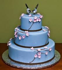 Blue Wedding Cakes With Flowers